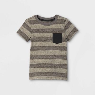 Toddler Boys' Striped Pocket Short Sleeve T-Shirt - Cat & Jack™ Charcoal Gray 12M