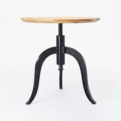 Round Wood End Table with Adjustable Height Brown - Threshold™ designed with Studio McGee