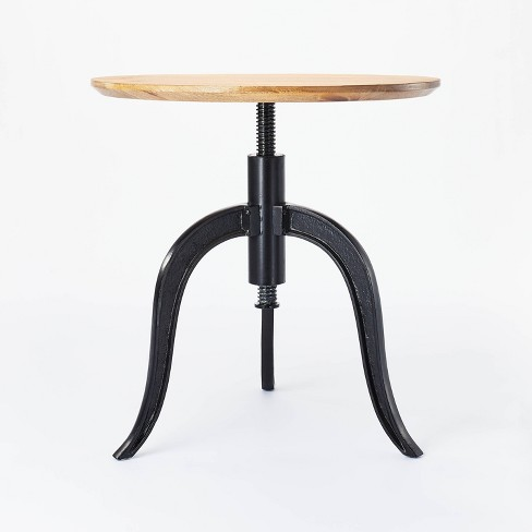 Round Wood End Table with Adjustable Height Brown - Threshold™ designed with Studio McGee - image 1 of 4