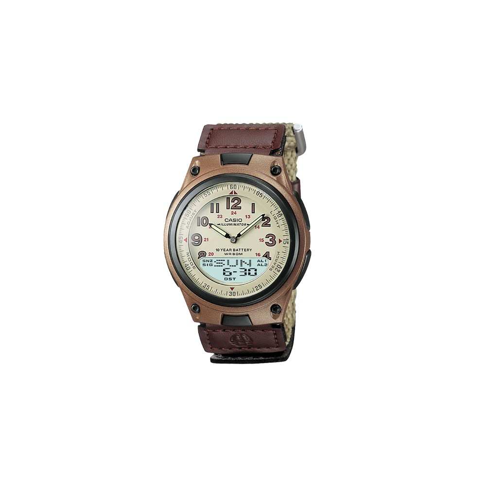 Image of Casio Men's Ana-Digi Data Bank Watch - Tan (AW80V-5BV), Size: Small