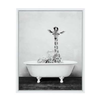 "18"" x 24"" Sylvie Giraffe 2 in the Tub Framed Canvas Wall Art by Amy Peterson White - Kate and Laurel"
