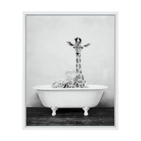 """18"""" x 24"""" Sylvie Giraffe 2 in the Tub Framed Canvas Wall Art by Amy Peterson White - Kate and Laurel - image 1 of 4"""