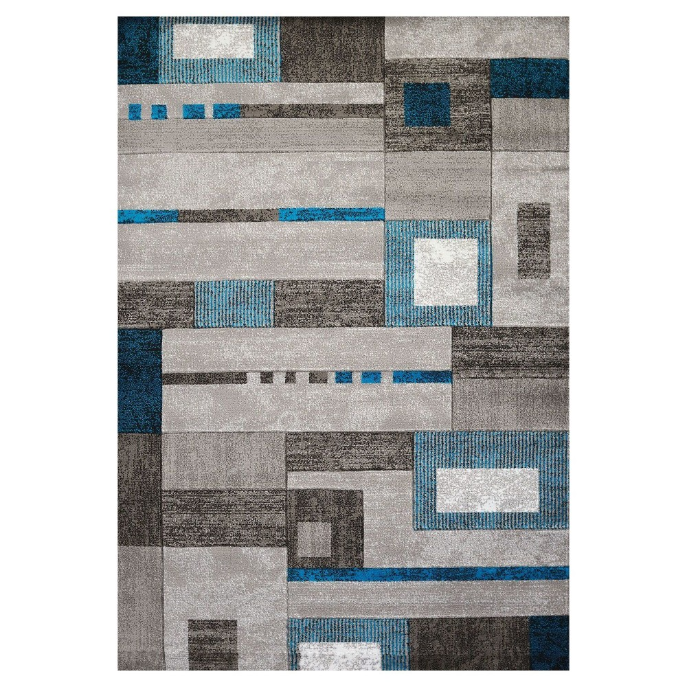"Image of ""Aqua Geometric Hooked Area Rug - (5'3""""x7') - United Weavers"""