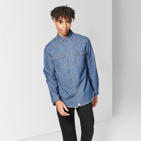 Men's Long Sleeve Raw Edge Denim Button-Down Shirt - Original Use™ Fighter Pilot Blue - image 1 of 3