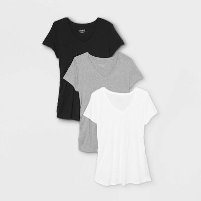 Maternity Short Sleeve V-Neck Side Shirred 3pk Bundle T-Shirt - Isabel Maternity by Ingrid & Isabel™ Black/White/Gray