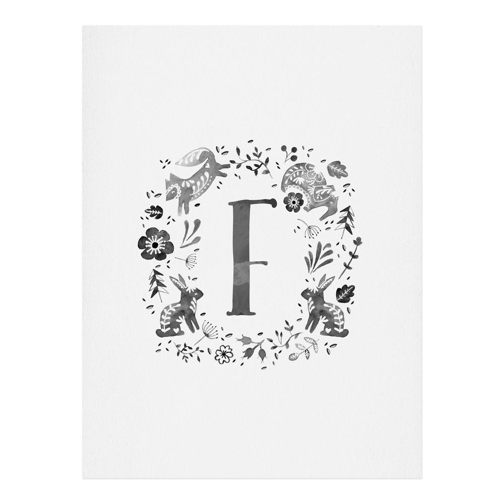 "Image of ""11""""x14"""" Wonder Forest Folky Forest Monogram Letter """"f"""" Art Print Unframed Wall Poster Gray - Deny Designs"""