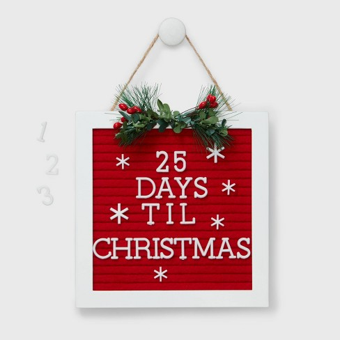 Countdown To Christmas Sign.Letter Board Christmas Countdown Sign Red And White Wondershop