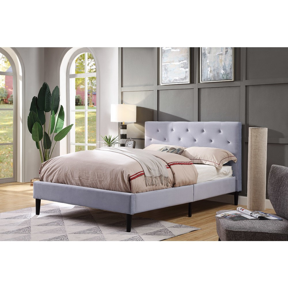 Raiden Flannelette Upholstered Bed Full Light Gray - miBasics