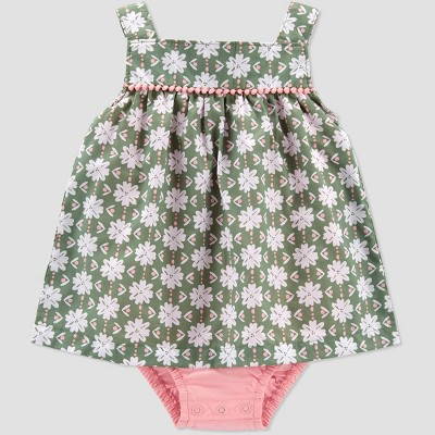 Baby Girls' Floral Geo Sunsuit Romper - Just One You® made by carter's Olive