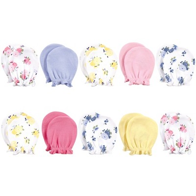 Luvable Friends Baby Girl Cotton Scratch Mittens, Pink Floral, One Size