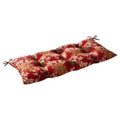 Outdoor Tufted Bench/Loveseat/Swing Cushion - Brown/Red Floral