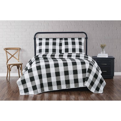 Full/Queen Everyday Buffalo Plaid Quilt Set Black - Truly Soft