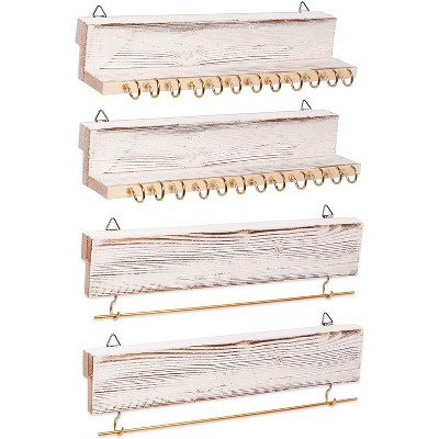 Farmlyn Creek 4-Pack Wooden Wall Mounted Jewelry Organizer Set with Bracelet Rods (11.8 x 2.25 in)