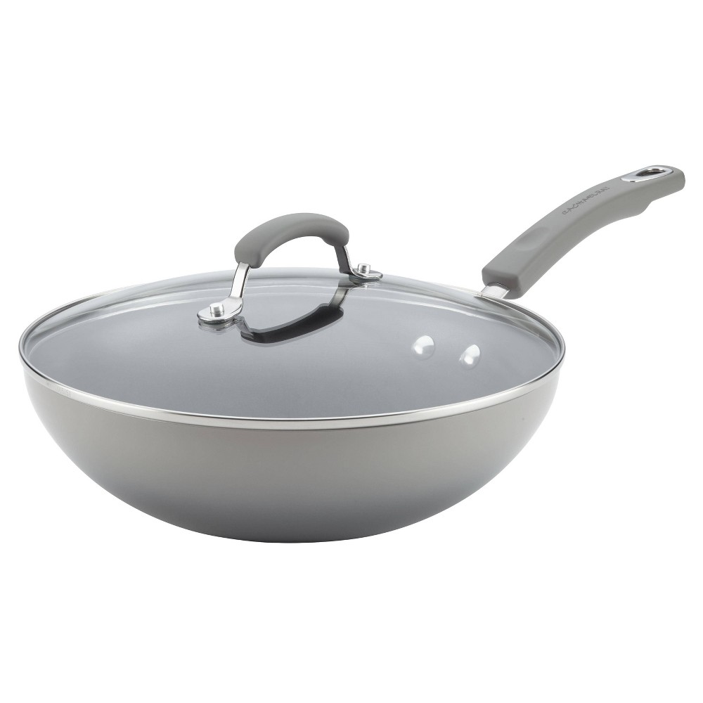 "Image of ""Rachael Ray 11"""" Hard Enamel Aluminum Nonstick Stir Fry Pan with Glass Lid Gray"""