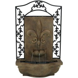 French Lily Solar Outdoor Wall-Mounted Water Fountain - Light Brown - Sunnydaze Decor