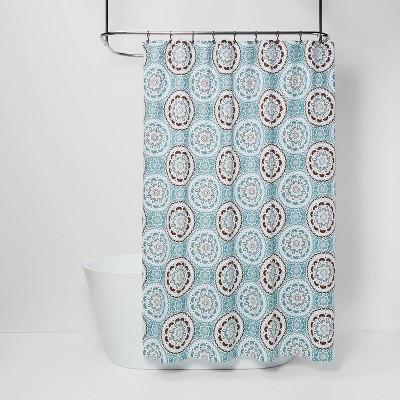 Medallion Shower Curtain Blue/Brown - Threshold™