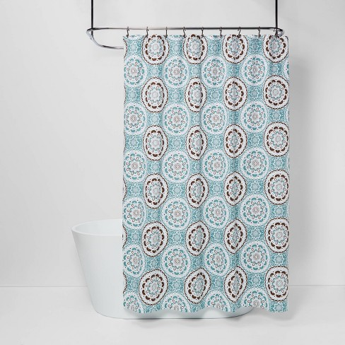 Medallion Shower Curtain Blue/Brown - Threshold™ - image 1 of 4