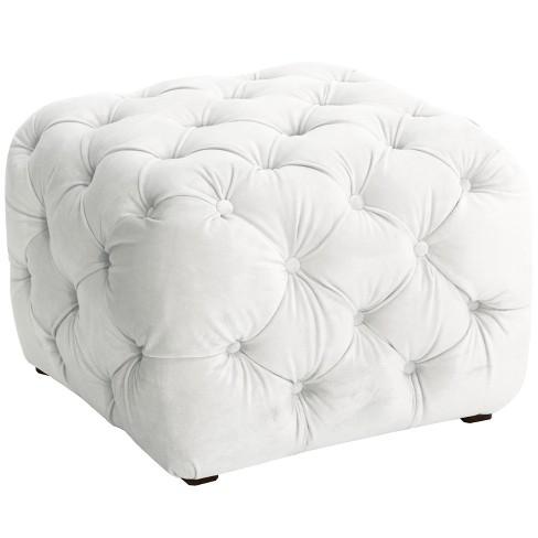 Excellent Grace Tufted Cube Ottoman White Velvet Cloth Co Creativecarmelina Interior Chair Design Creativecarmelinacom