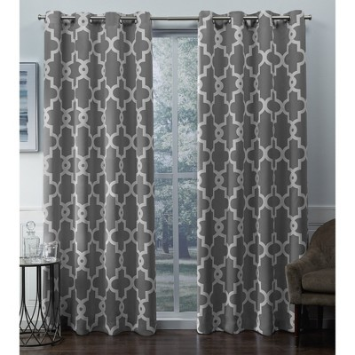 "Set of 2 84""x52"" Ironwork Sateen Woven Blackout Grommet Top Window Curtain Panel Silver - Exclusive Home"