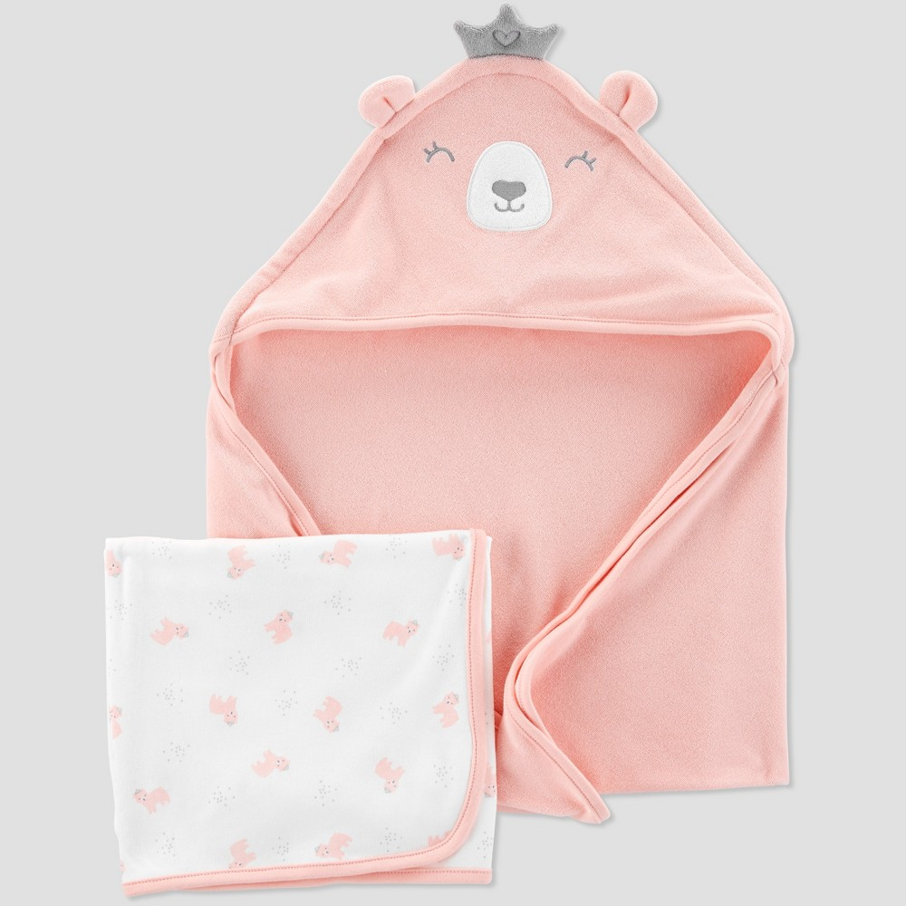 Image of Baby Girls' Bear Bath Towel Set - Just One You made by carter's Pink/White One Size
