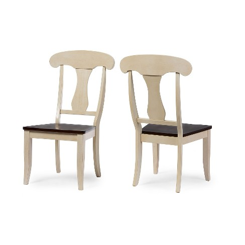 Napoleon Chic Country Cottage Antique Oak Brown Wood Dining Chairs (Set of  2) - Baxton Studio - Napoleon Chic Country Cottage Antique Oak Brown Wood Dining Chairs