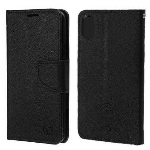 MYBAT For Apple iPhone X/XS Black Leather Fabric Case Cover w/stand w/card slot - image 1 of 2