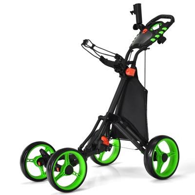 Goplus Folding 4 Wheels Golf Push Cart W/Bag Scoreboard Adjustable Handle Red\Blue\Gray\Green