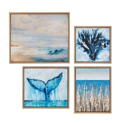 (Set of 4) Seascape Gel Coat Framed Canvas Set Blue