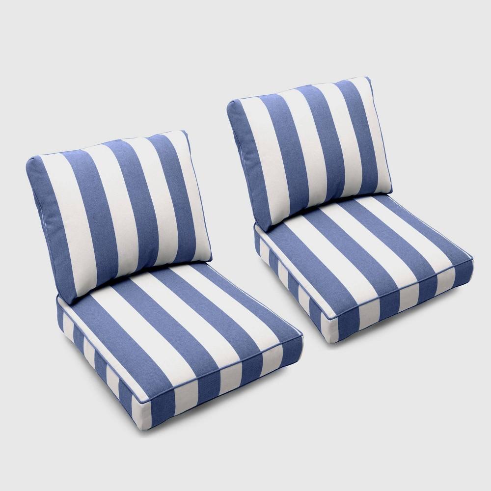 Bar Harbor 2pk Cabana Stripe Loveseat Cushions Navy (Blue) - Threshold