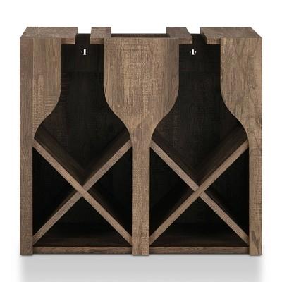 Ralswel Wall Mount Wine Rack Reclaimed Oak - miBasics