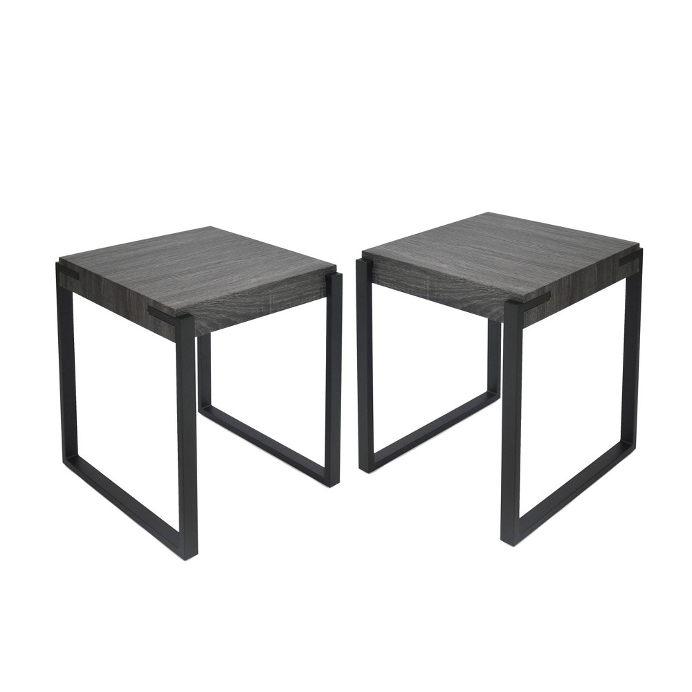 Balestier Set of 2 Modern Contemporary End Table Black Oak - Christopher Knight Home