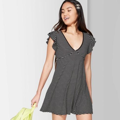 e3dc6610 Women's Striped Flutter Short Sleeve V-Neck Solid Skater Dress - Wild  Fable™ Black/White