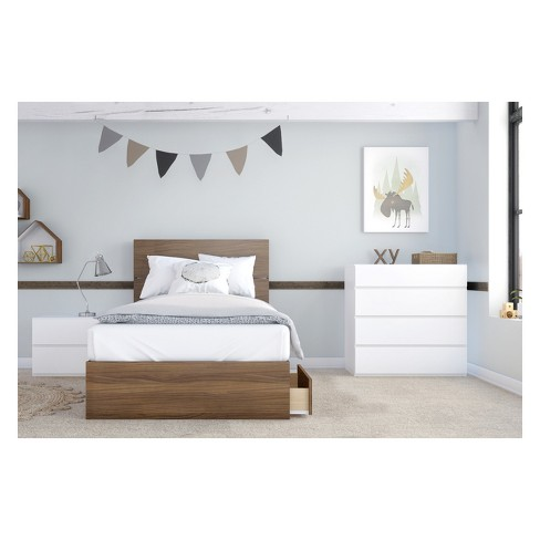 Hera 4pc Bedroom Set Twin Walnut & White - Nexera