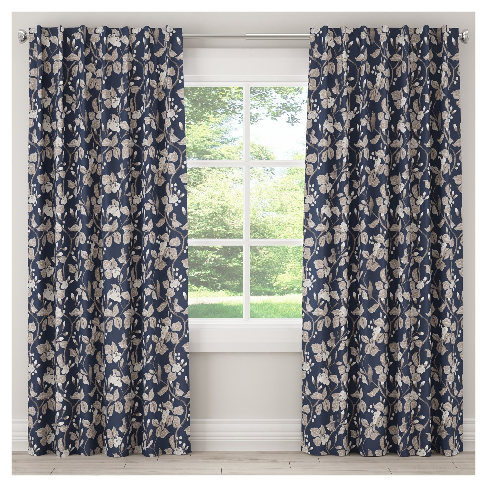 Unlined Chinois Curtain Panel Navy (Blue) (50