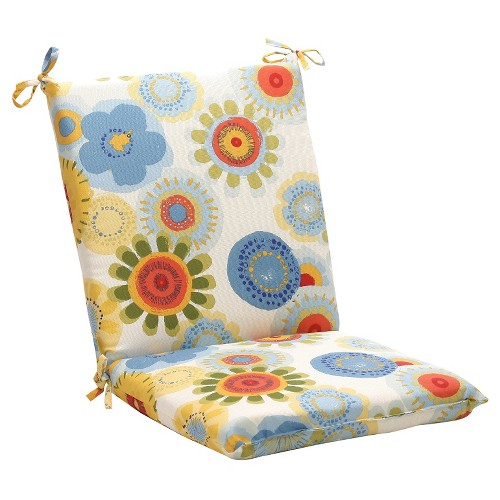 Outdoor Chair Cushion - Blue/White/Yellow Floral