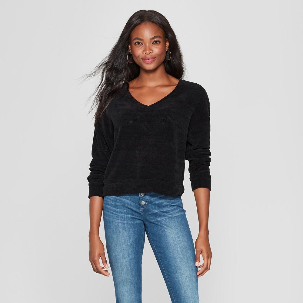 Women's Long Sleeve Chenille Twist Back Pullover Sweater - Xhilaration Black XL