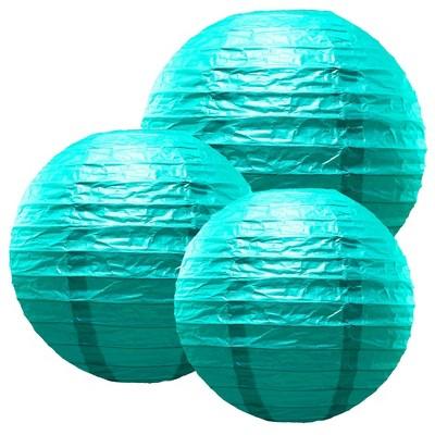 "6ct 12"" 14"" 16"" Multi Size Paper Lanterns Blue"