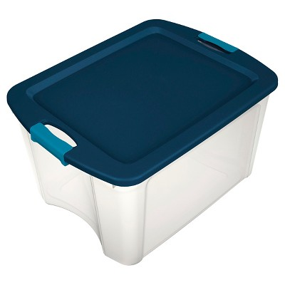 Sterilite 18 Gal Latch & Carry Clear with Blue Lid and Blue Latches