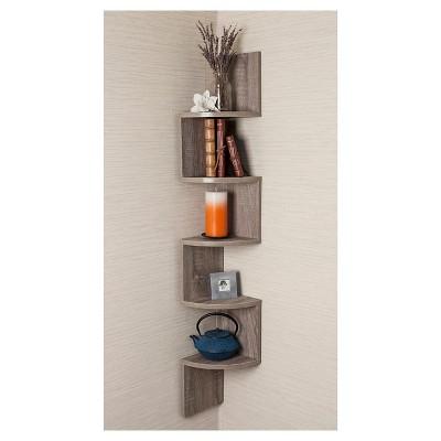 zig zag corner shelf weathered oak target rh target com Floating Wall Shelves zig zag corner wall shelves
