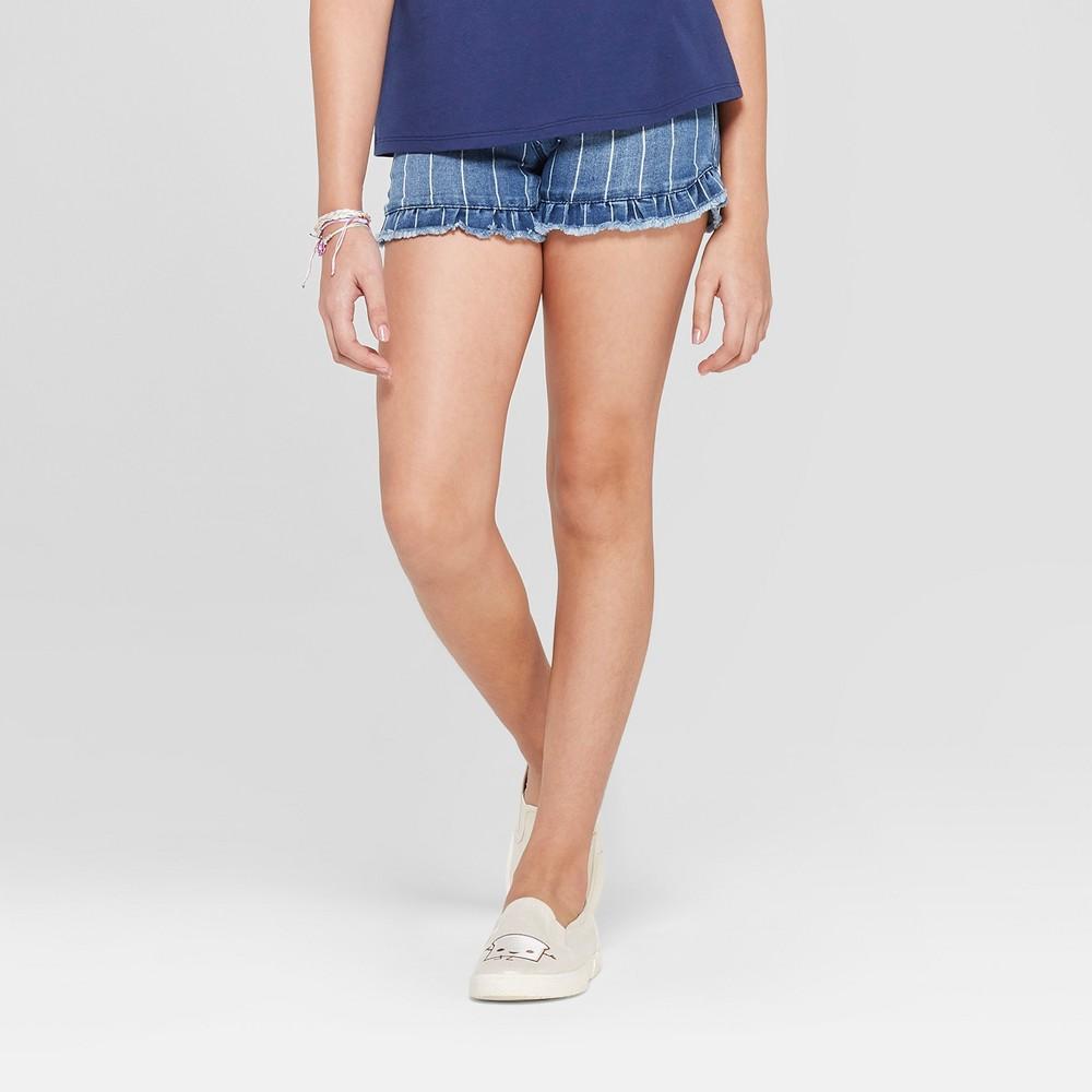 Girls' Ruffle Hem Jean Shorts - Cat & Jack Medium Wash Xxl, Blue
