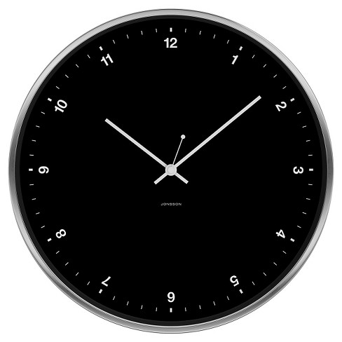 "Brushed Metal 12"" Round Wall Clock Black/Silver - JONSSON Timeware® - image 1 of 3"
