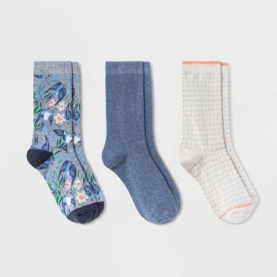 Women's Birds 3pk Crew Socks - A New Day™ Gray/Blue 4-10