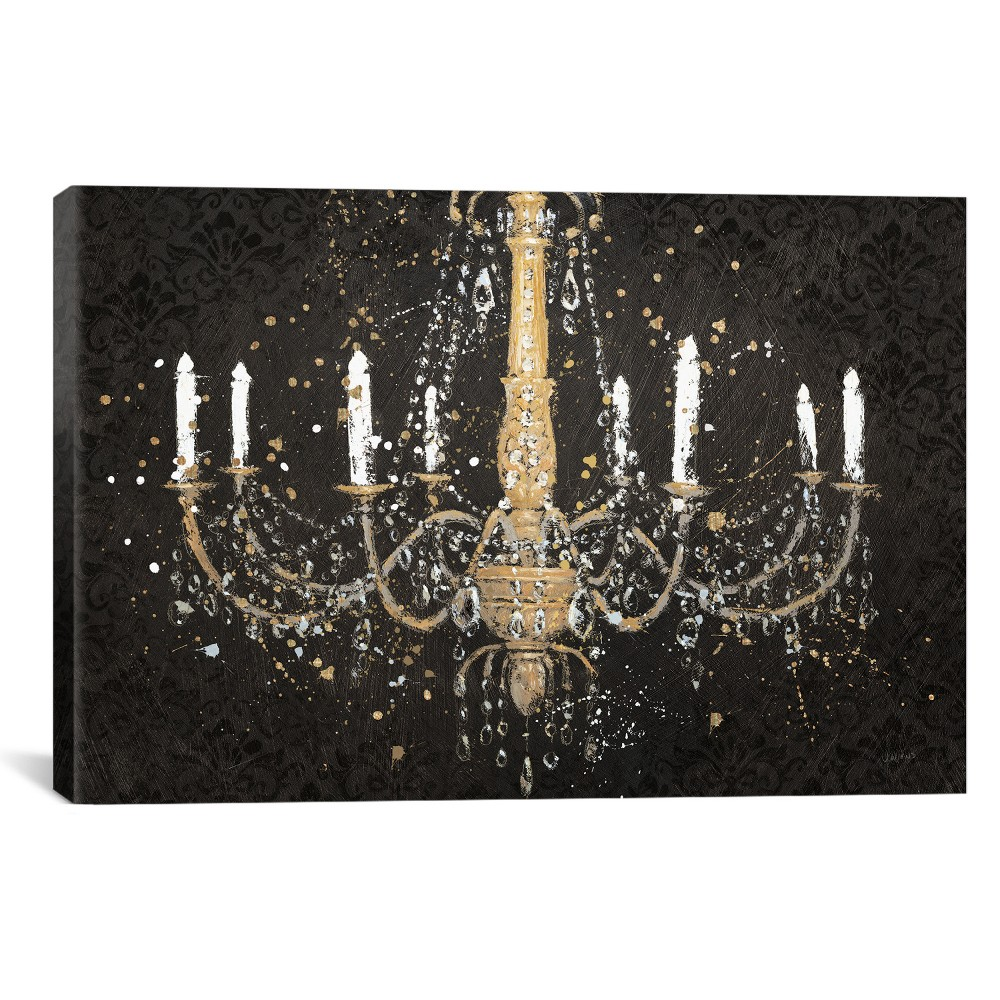 "Image of ""18""""x26"""" Grand Chandelier Black I by James Wiens Unframed Wall Canvas Print Black - iCanvas"""