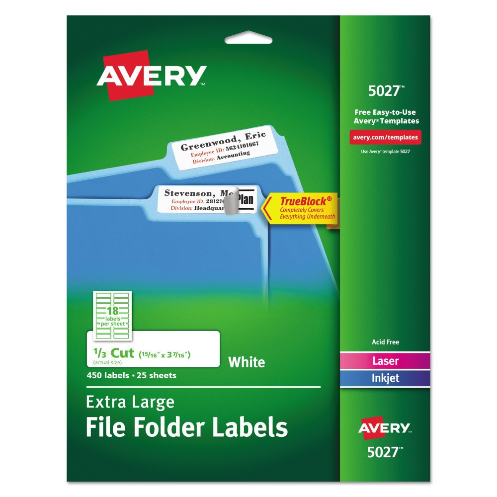 Avery Extra-Large 1/3-Cut File Folder Labels - White (450 Pack)
