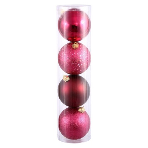 4ct Wine Assorted Finishes Ball Christmas Ornament Set - image 1 of 1