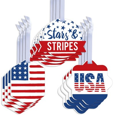 Big Dot of Happiness Stars & Stripes - Assorted Hanging Memorial Day 4th of July & Labor Day Patriotic Party Favor Tags - Gift Tag Toppers - Set of 12