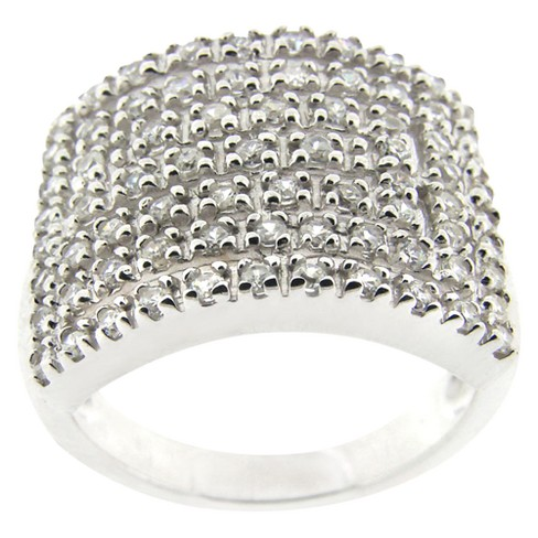 Sterling Silver Pave Cubic Zirconium Rectangle Maze Ring - Silver - image 1 of 1