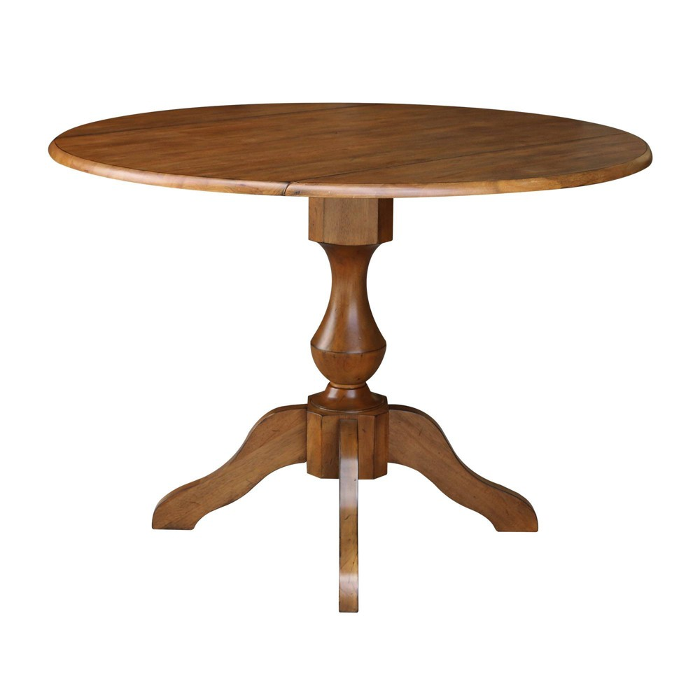 """Image of """"30.3"""""""" Barry Round Dual Drop Leaf Pedestal Table Brown - International Concepts"""""""