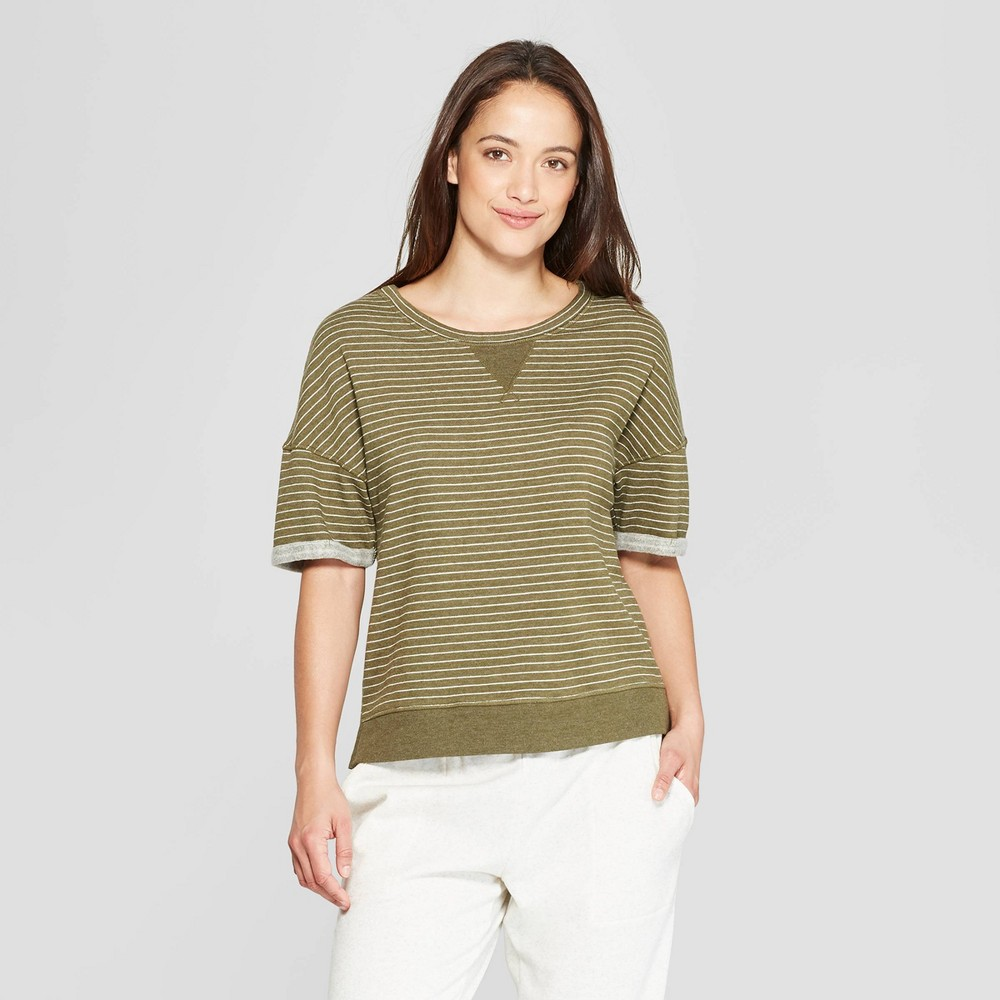 Women's Striped Brushed Fleece Short Sleeve Lounge Sweatshirt - Stars Above Green XS, Blue