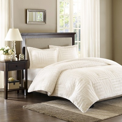 Ivory Polar Brushed Faux Fur Comforter Mini Set King/California King 3pc